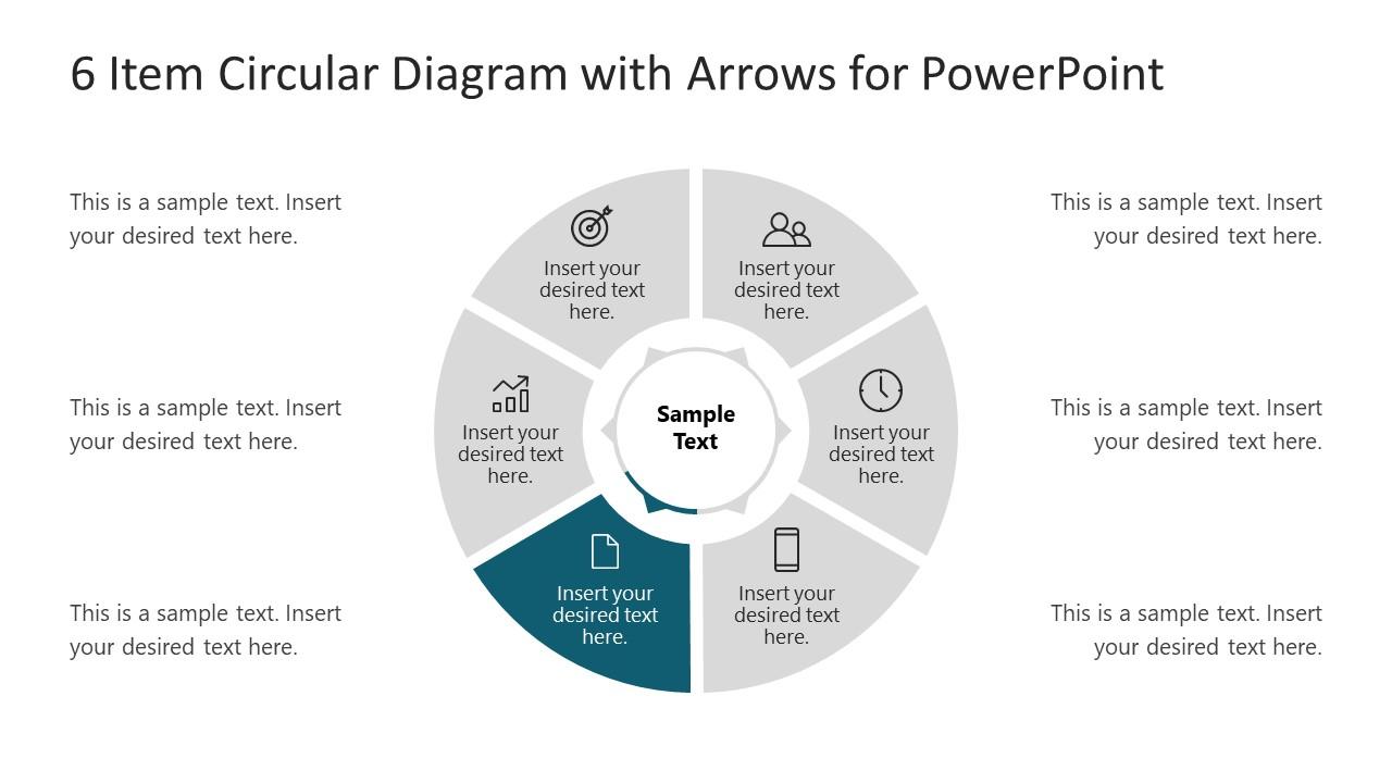6 Steps Arrow 4 Circular PowerPoint Diagram