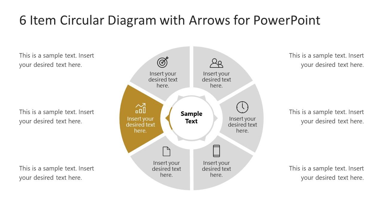 6 Steps Arrow 5 Circular PowerPoint Diagram