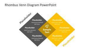 PowerPoint Venn Diagram in Rhombus Shape