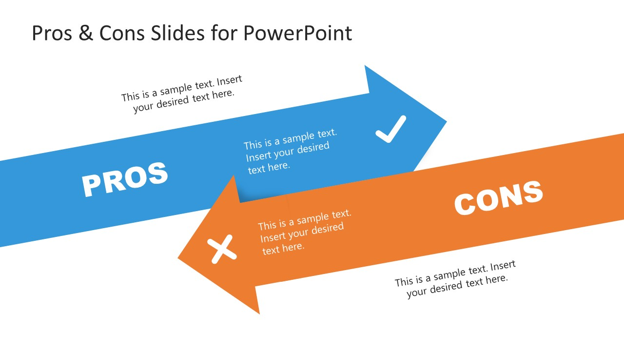 PPT Pros and Cons Arrows Template