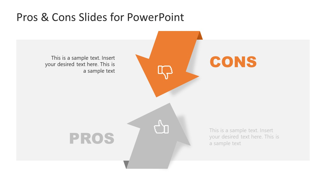 PPT 2 Arrows Diagram of Pros and Cons