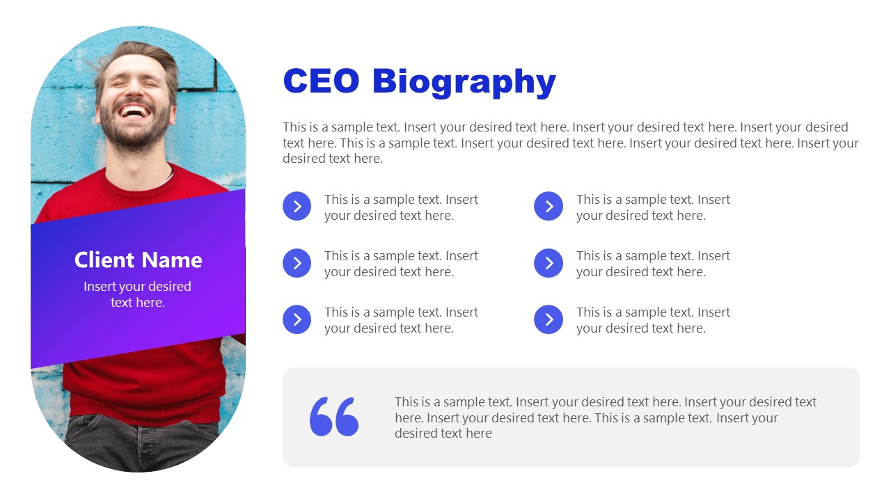 PPT Biography CEO Profile Template