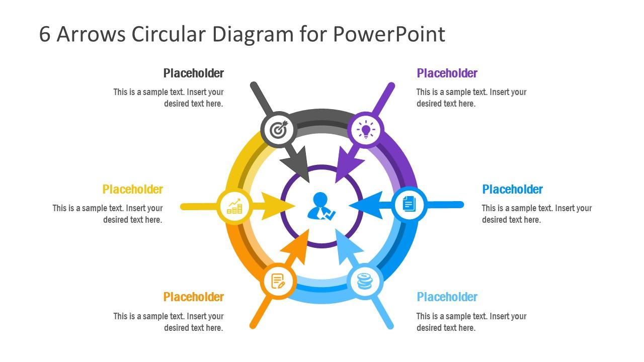 Circular PowerPoint 6 Arrows Template