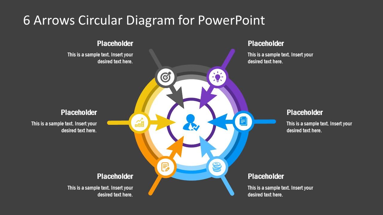 Circular Diagram 6 Arrow Icons Template