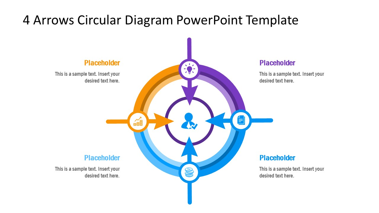 PPT Diagram Template for 4 Steps Arrow
