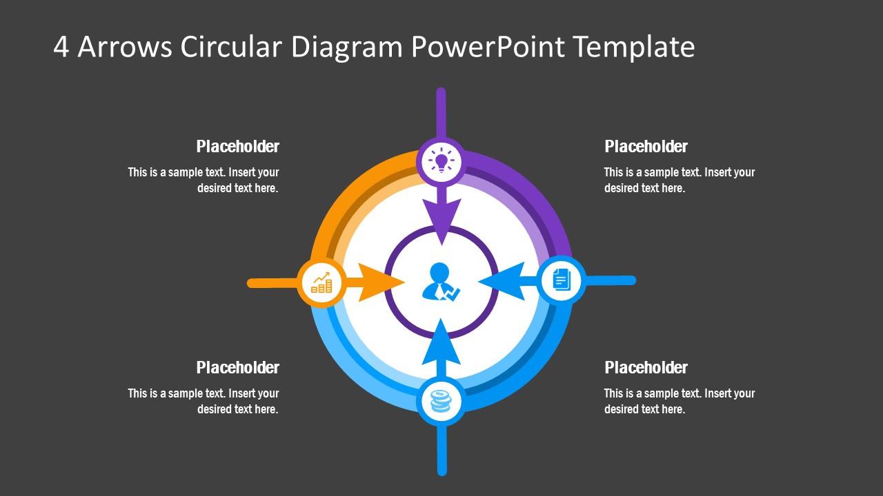 PowerPoint Diagram 4 Arrows Circular Template