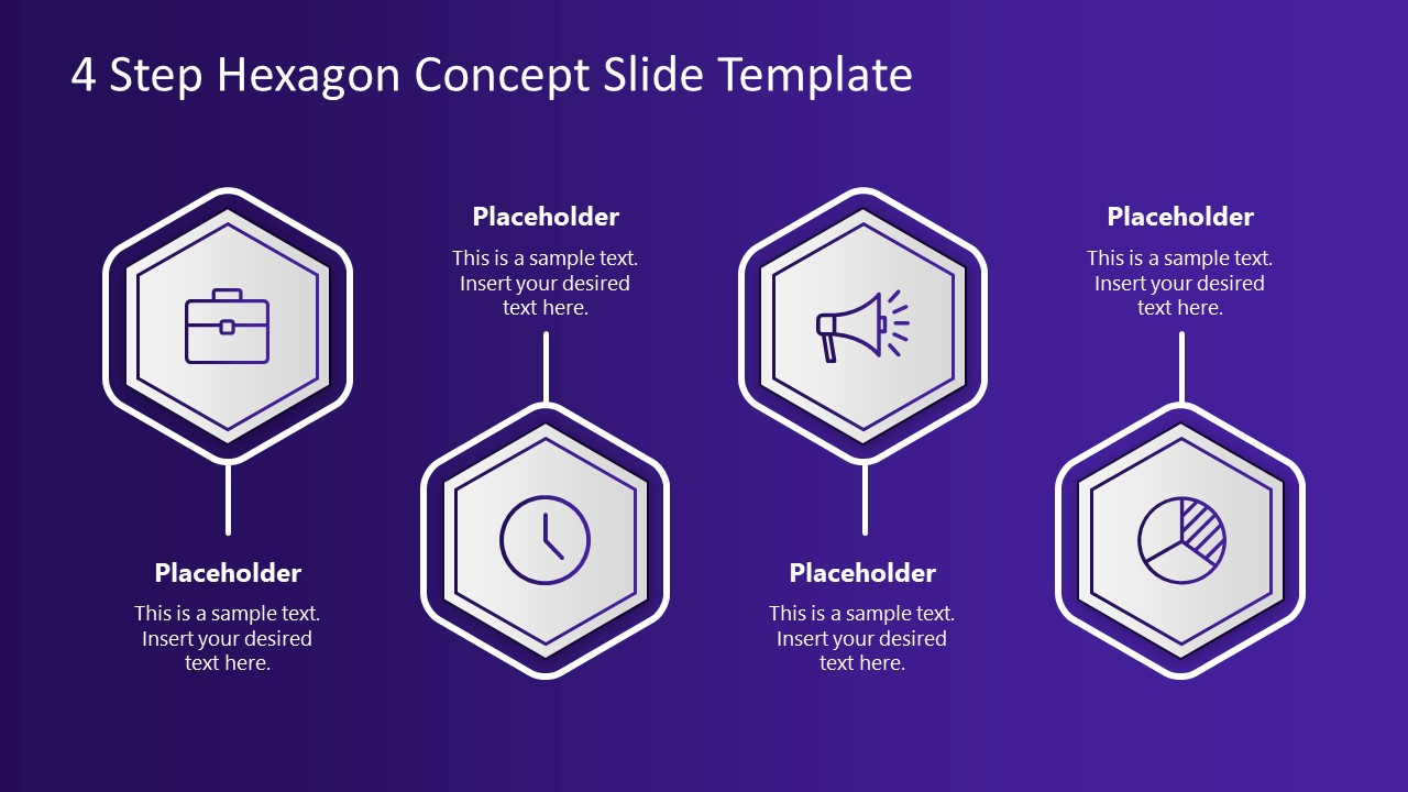 4 Process Hexagone Shapes PPT