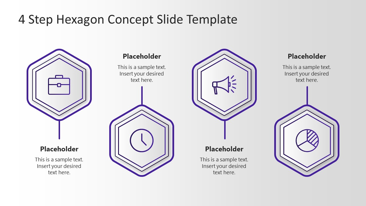 Template of 4 Hexagon Process Diagram