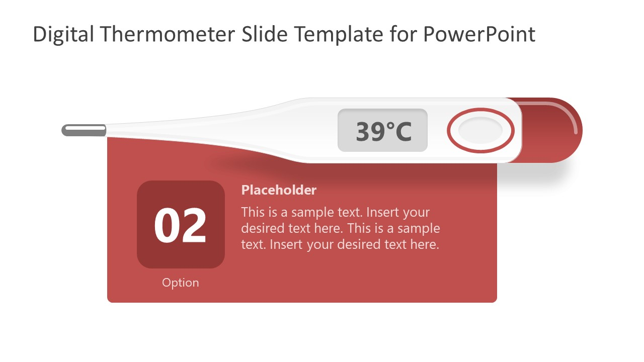 PowerPoint Shape of Blue Digital Thermometer