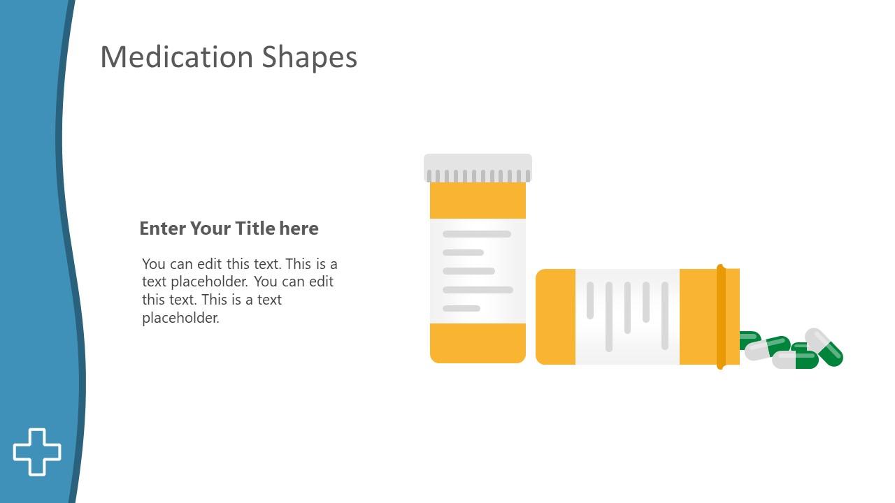Flat Vector Shapes of Pill Bottle