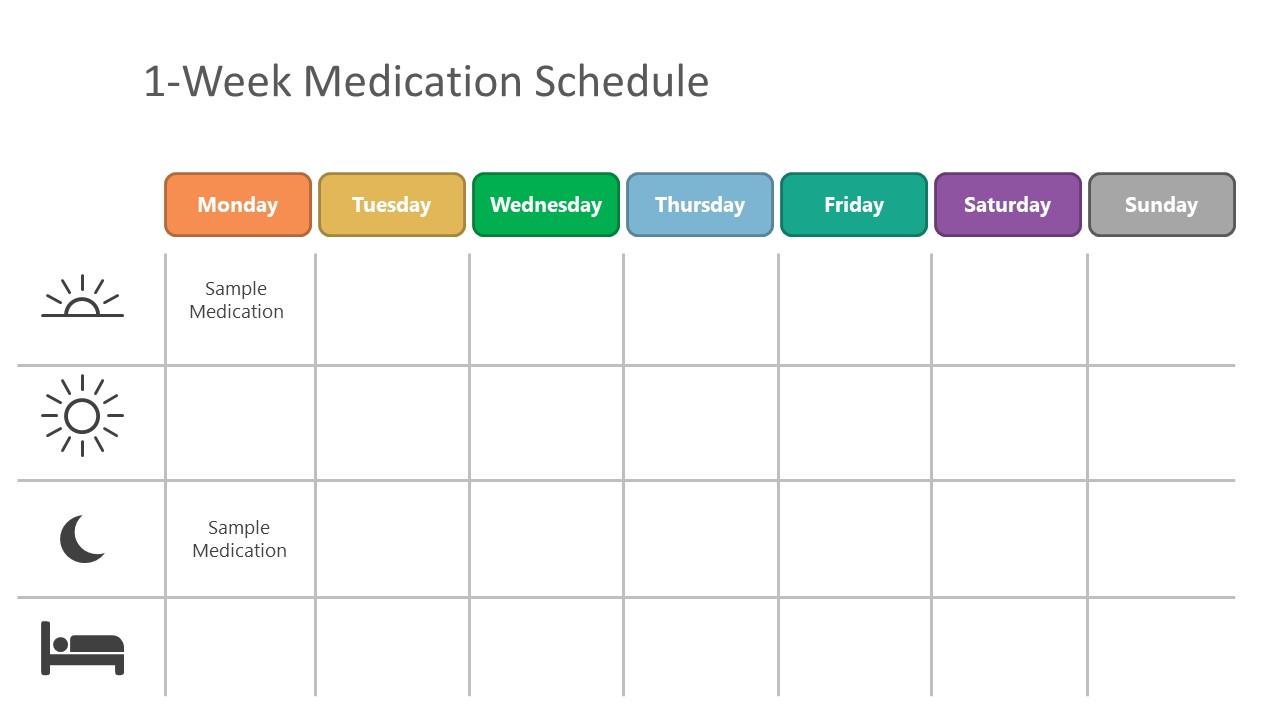 1-Week Medication Dosage Schedule