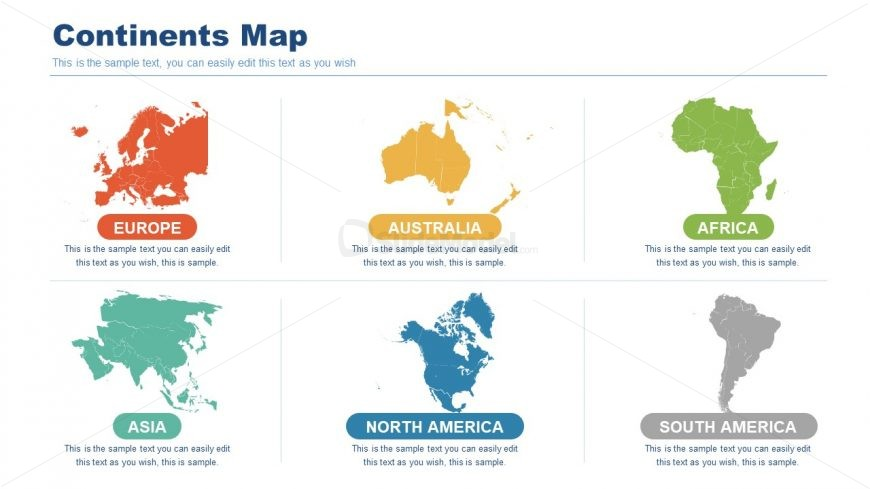 6 Continent Maps Editable PowerPoint