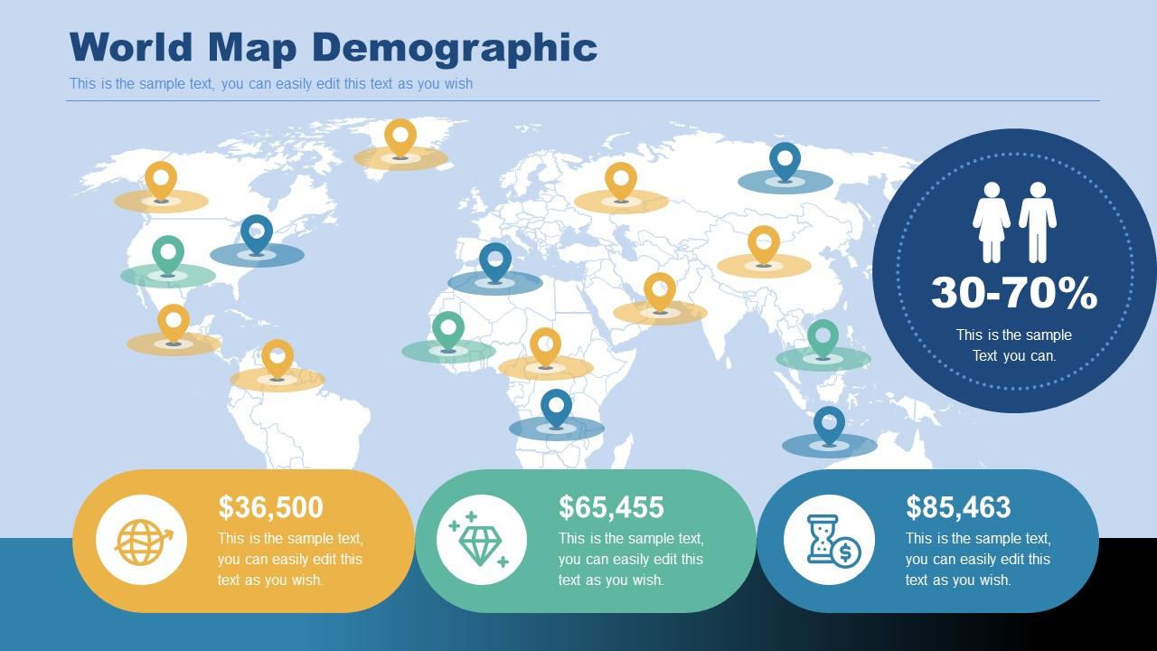 Editable World Map Template for Demographics