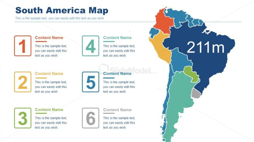 Editable Map of South America Continent