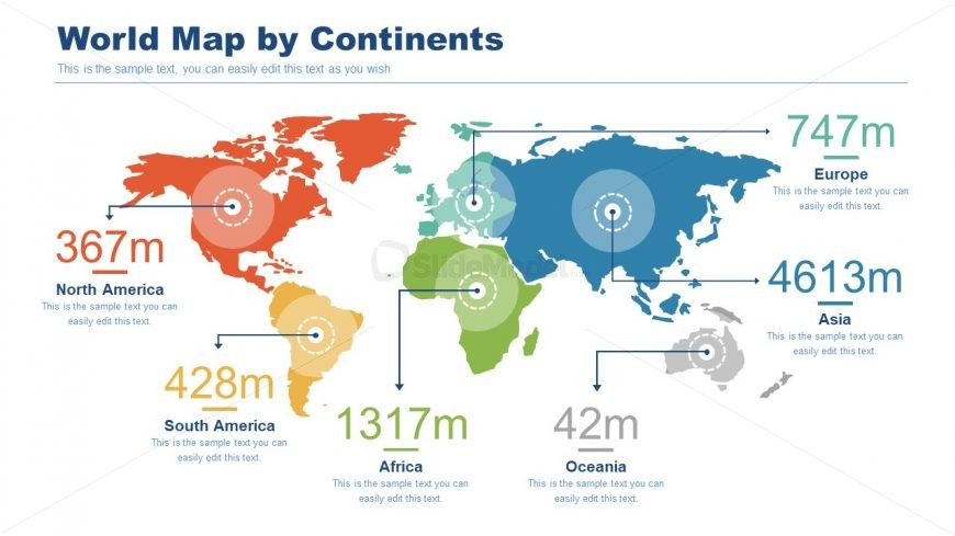 Editable Map of World Continents