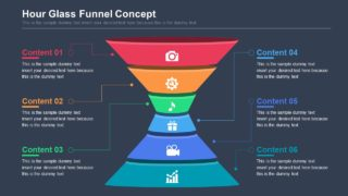 6-Step Hour Glass Funnel PowerPoint Template