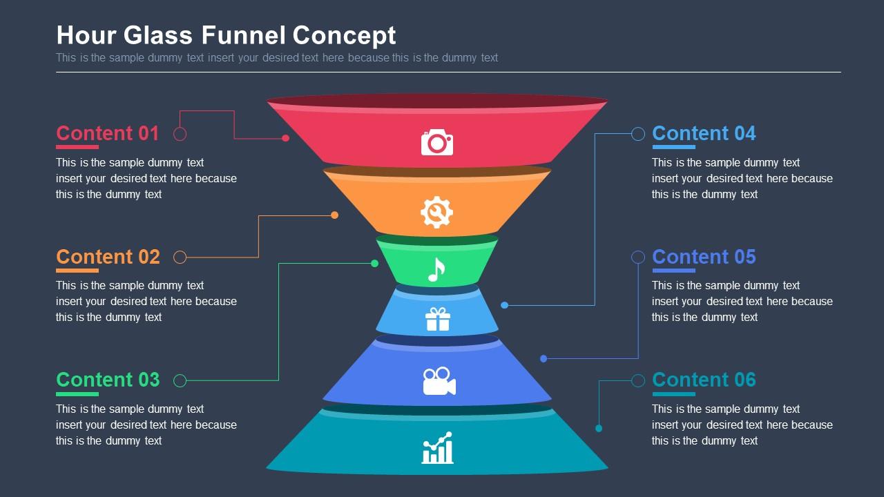 6 Steps Funnel PowerPoint Diagram