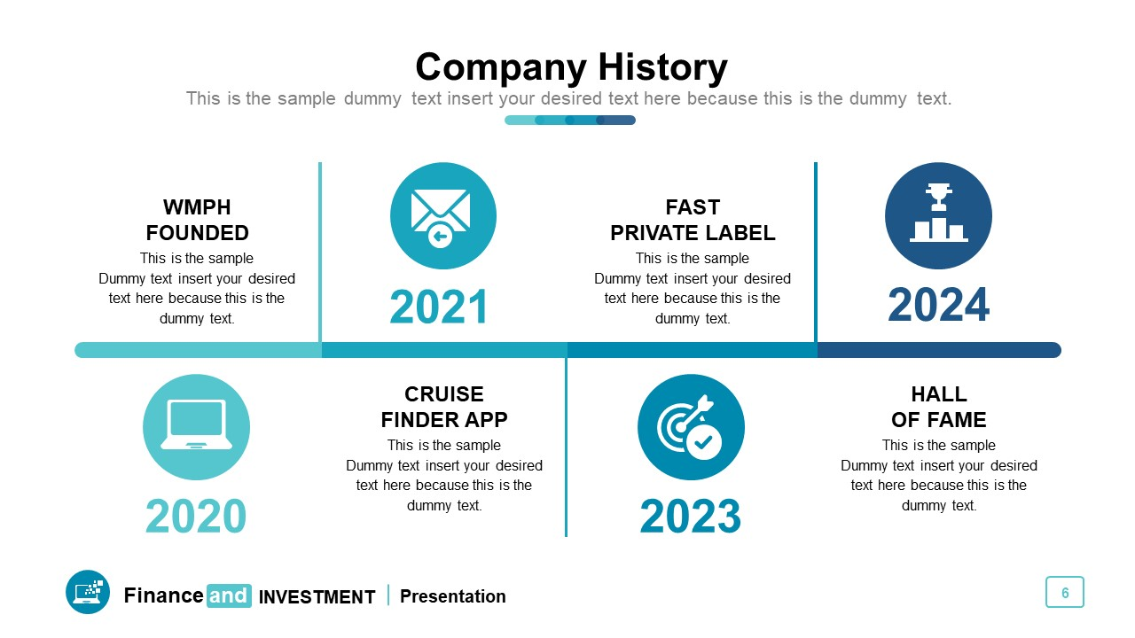 Horizontal timeline roadmap for past 4 year review