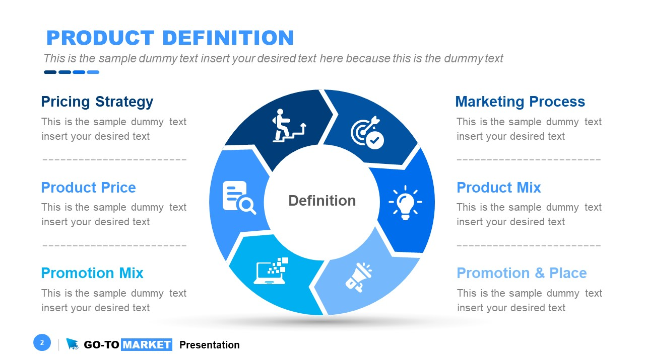 5 Steps Product Definition Diagram Ppt