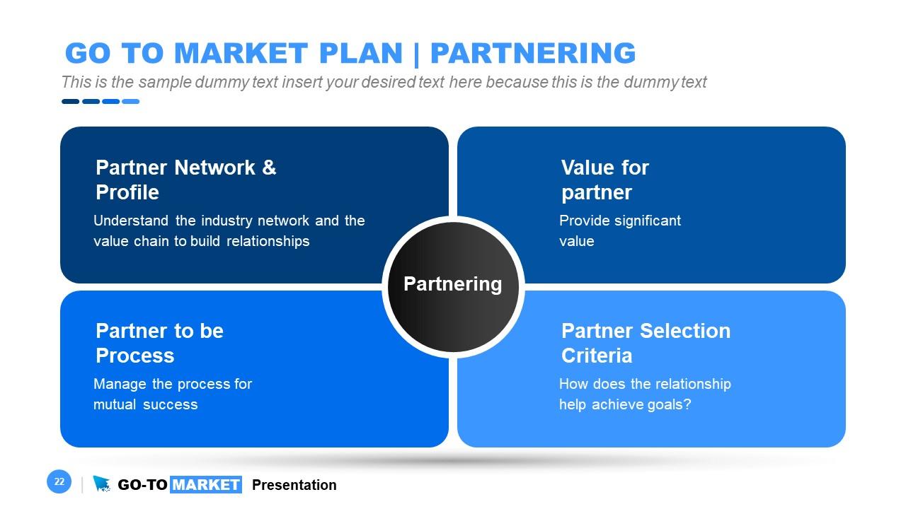 PPT Go-To Market 4 Steps Diagram