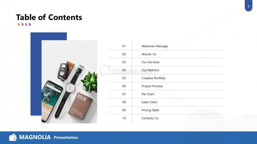 Table of Contents in Magnolia PPT