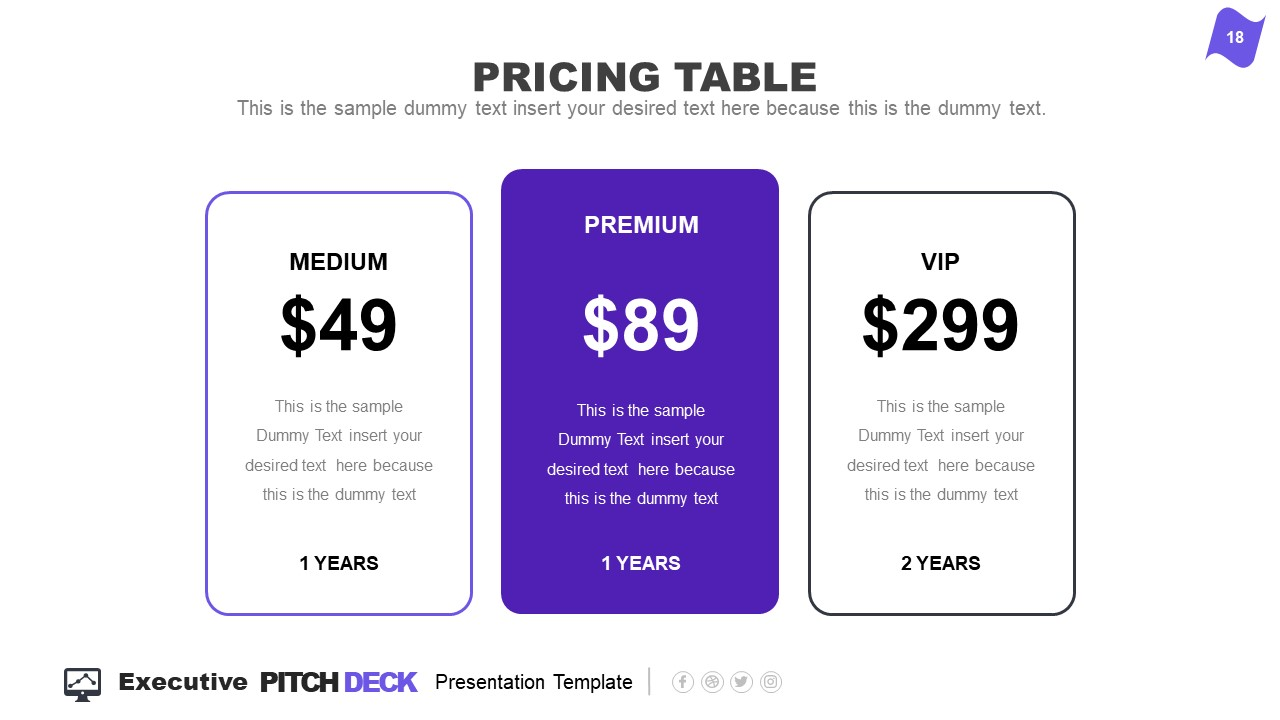 3 Columns of Pricing Information