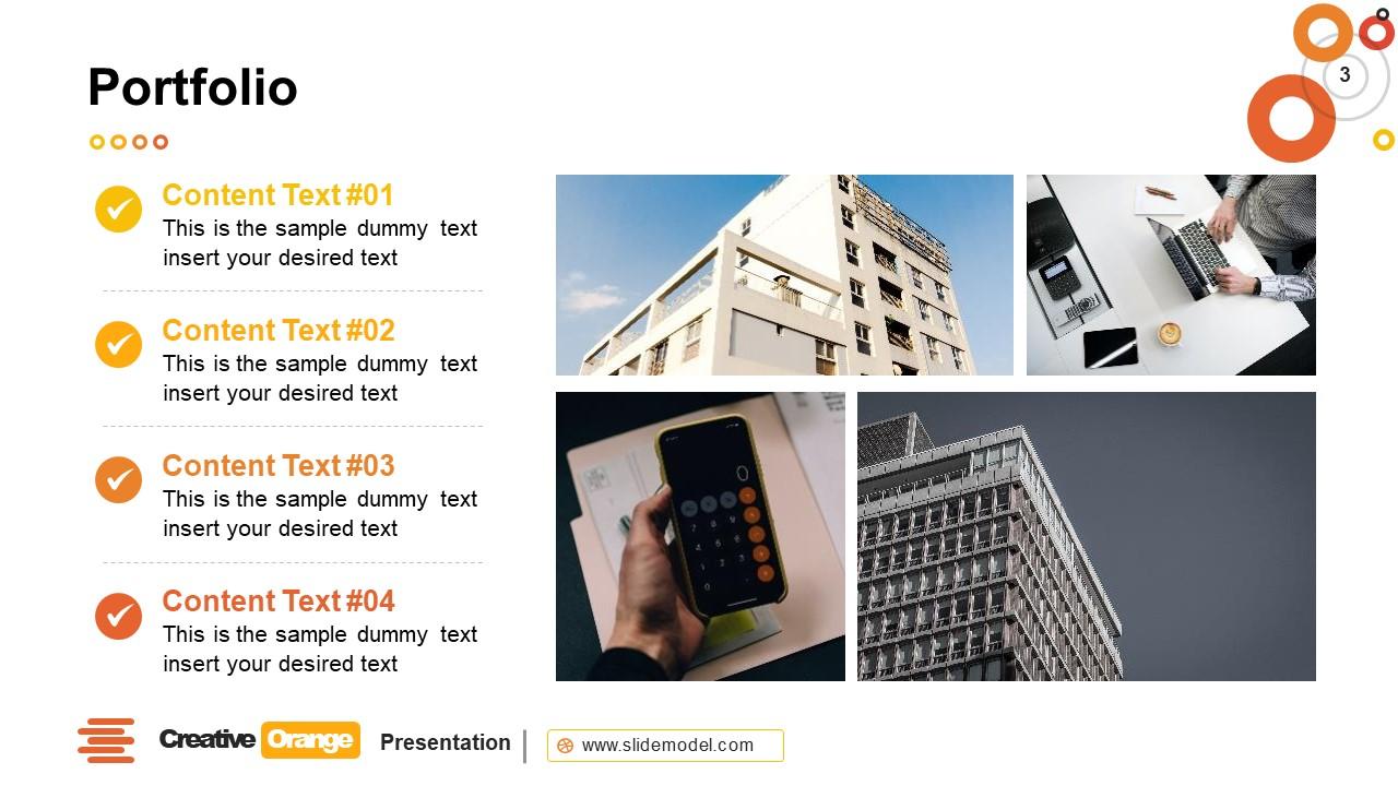 Presentation of Creative Orange Portfolio