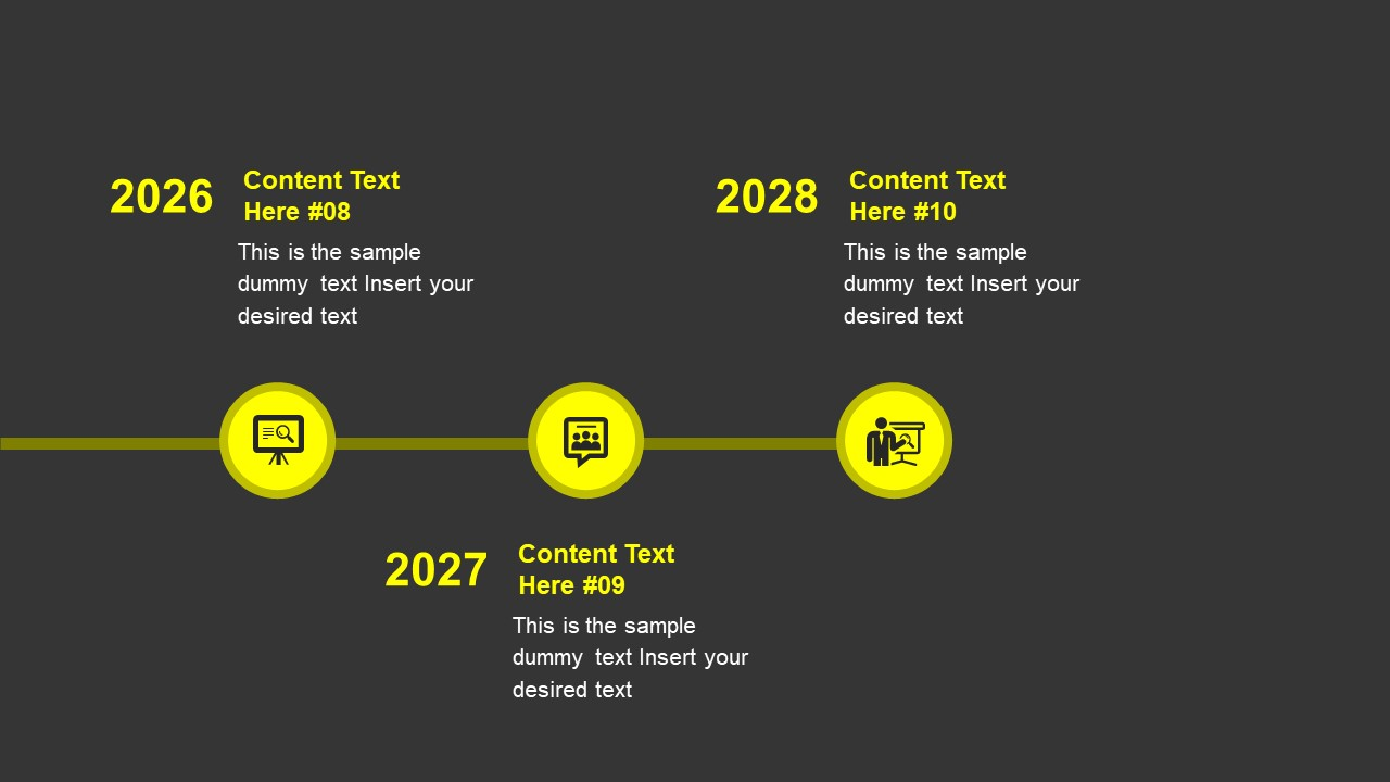 PowerPoint Horizontal Timeline Slide Yellow Theme