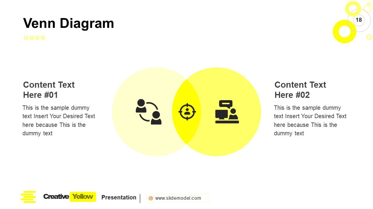 PowerPoint Venn Diagram Slide Yellow Theme
