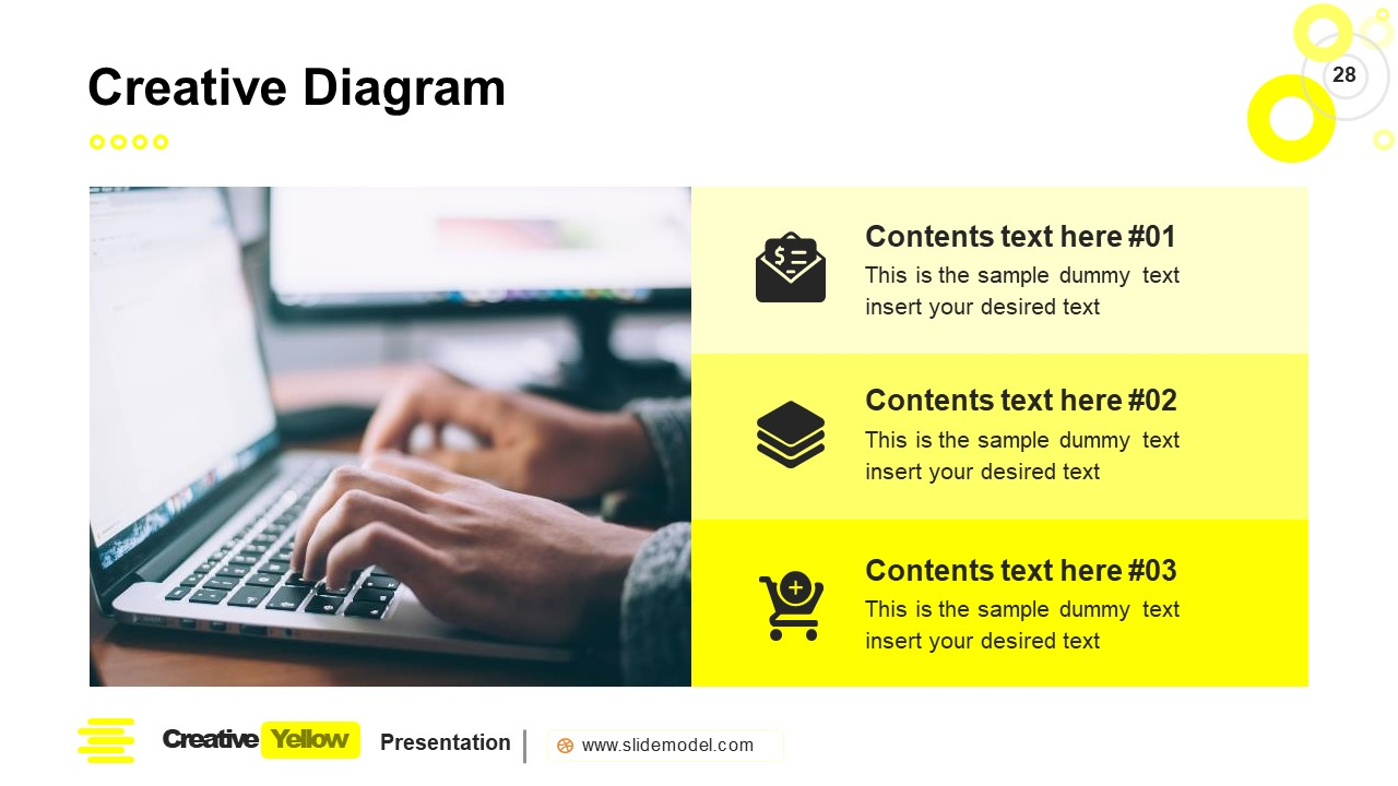 PowerPoint Bullet Points Slide Yellow Theme