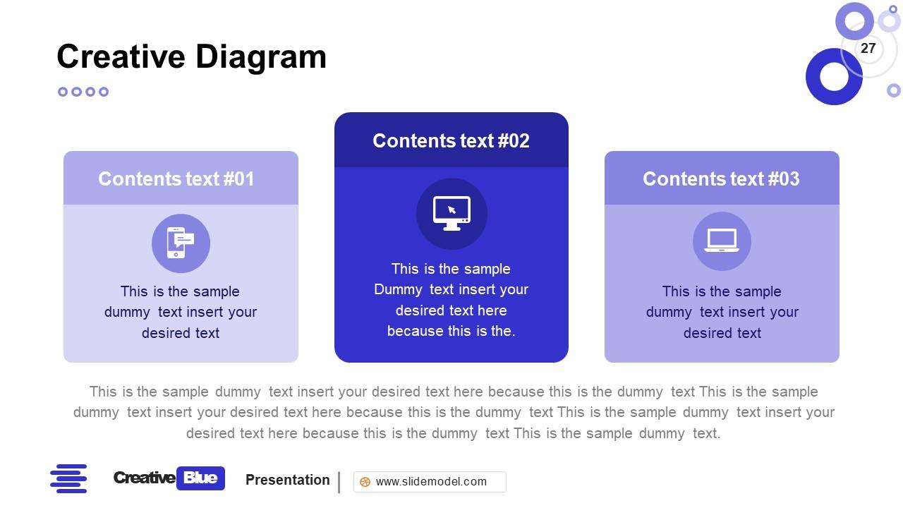 3 Segment PowerPoint Business PowerPoint Blue