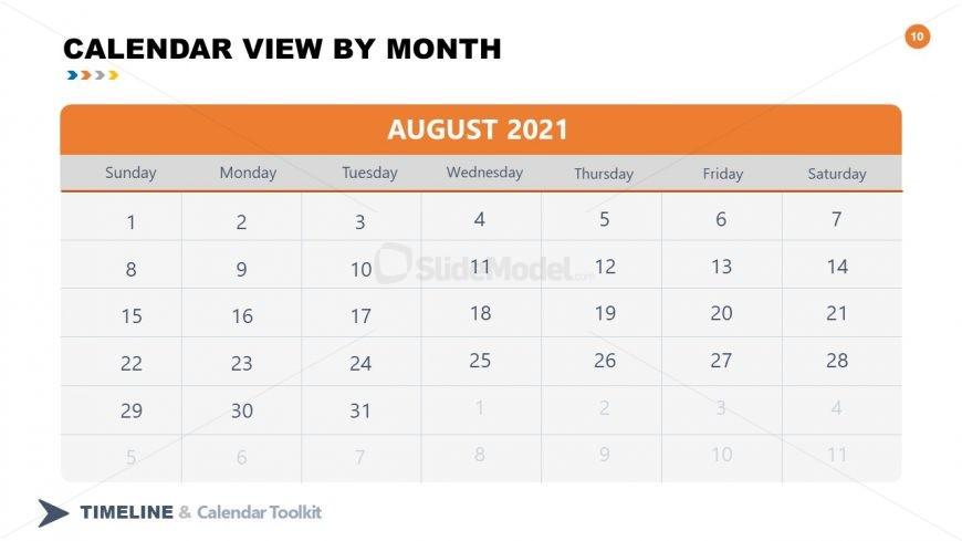 PPT Slide August Calendar 2021