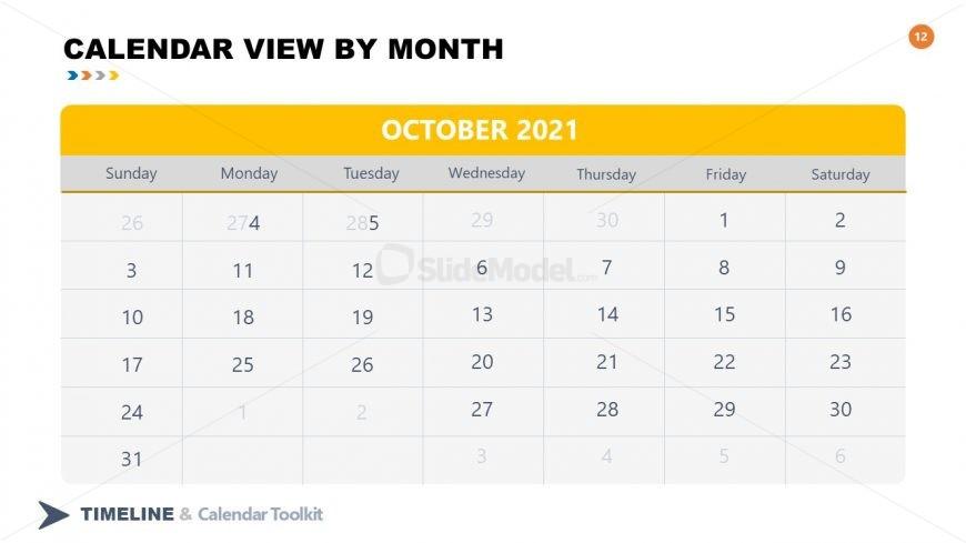 PPT Slide October Calendar 2021