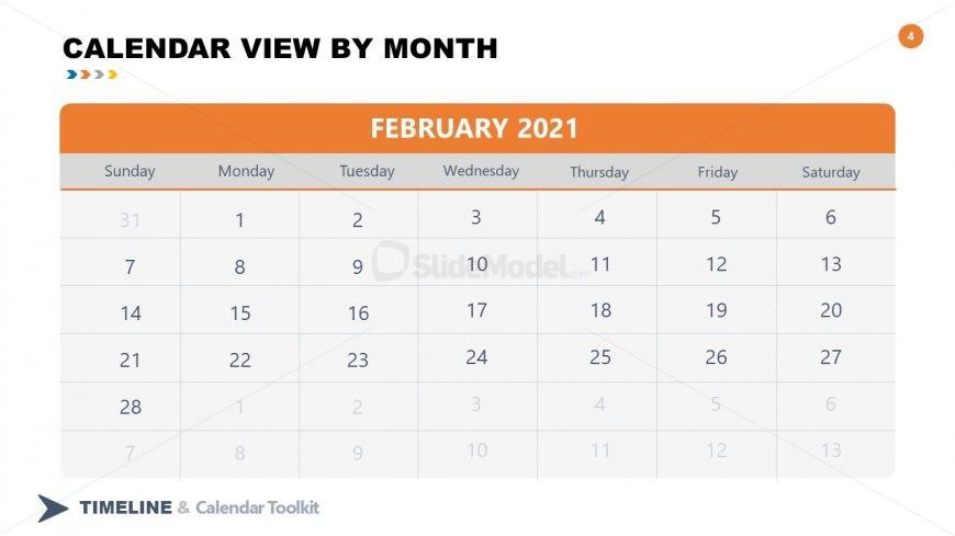 PPT Slide February Calendar 2021