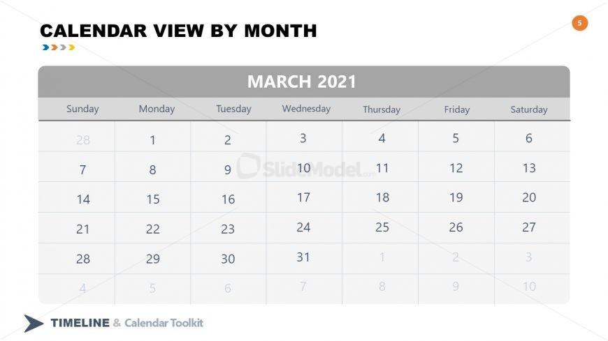 PPT Slide March Calendar 2021