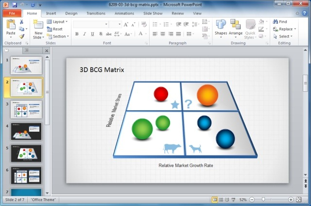 3D BCG Matrix Template For PowerPoint