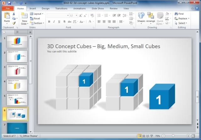 3D Big Data Concept Cubes PowerPoint Template