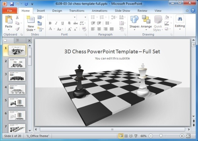 3D Chess PowerPoint Template with Full Set