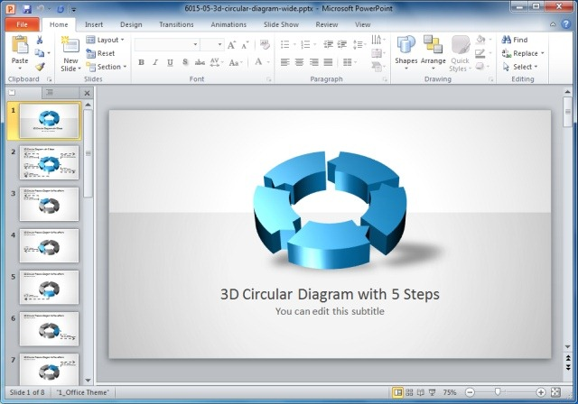 3D Circular Process Diagram Template For PowerPoint