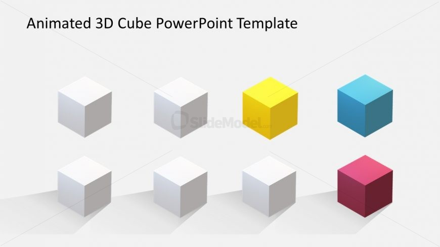 8 Cube Slide of Colorful Objects