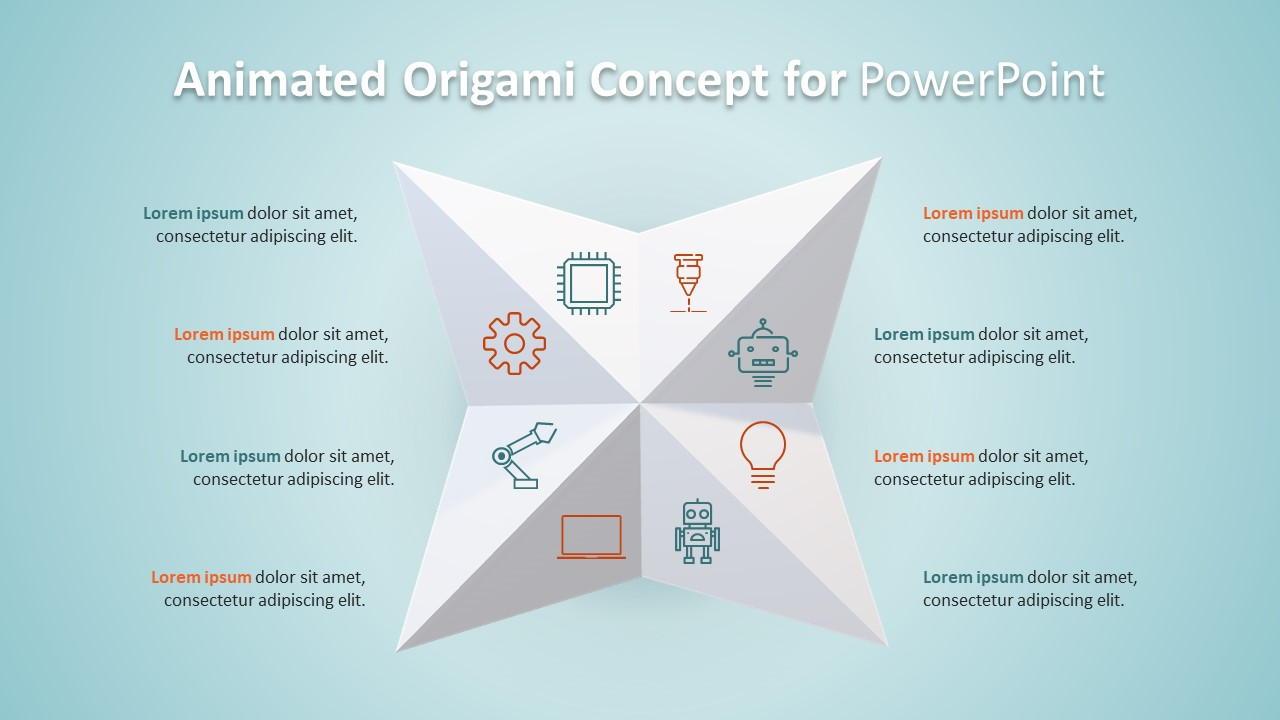 8 Step PowerPoint Diagram Origami