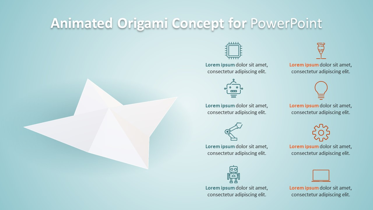Rotating Origami PowerPoint Animation