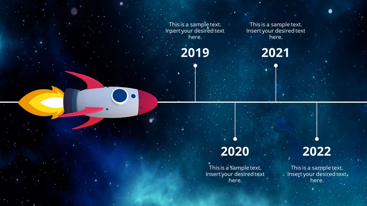 Animated 3D Spaceship Timeline Concept For PowerPoint