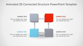 4 Item Animated 3D Connected Structure PowerPoint Template
