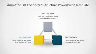 3 Item Animated 3D Connected Structure PowerPoint Template