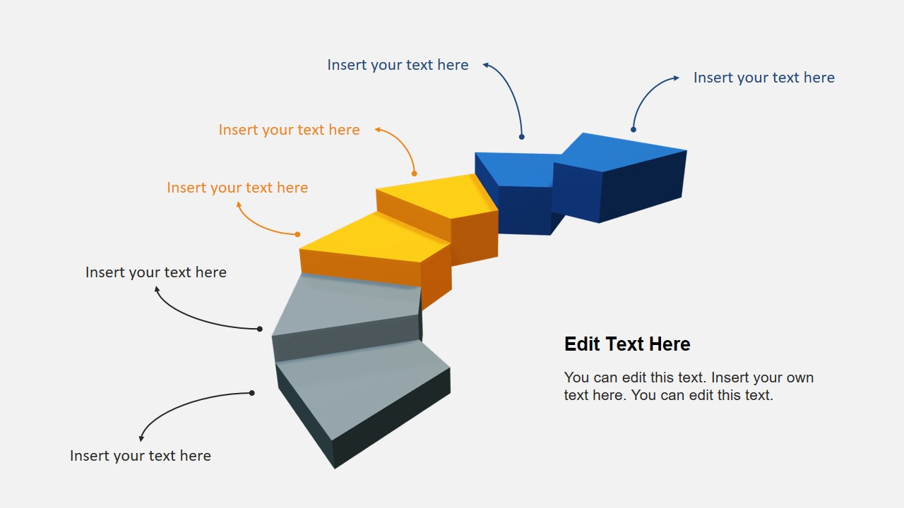 Animated 3D Three Segments Stairs Diagram Template for ...