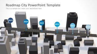 Animated 3D Roadmap City PowerPoint Template