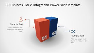 Animated 3D Business 2 Blocks Diagram for PowerPoint
