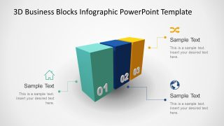 Animated 3D Business 3 Blocks Diagram for PowerPoint