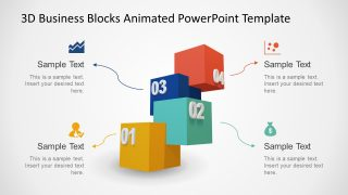 Animated 3D Stepped Diagram for PowerPoint with 4 Steps